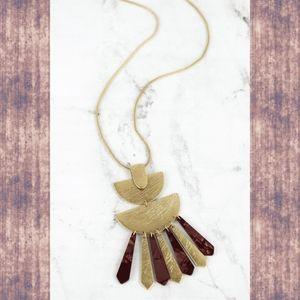 Boho Chic Resin Geometric Pendant Necklace